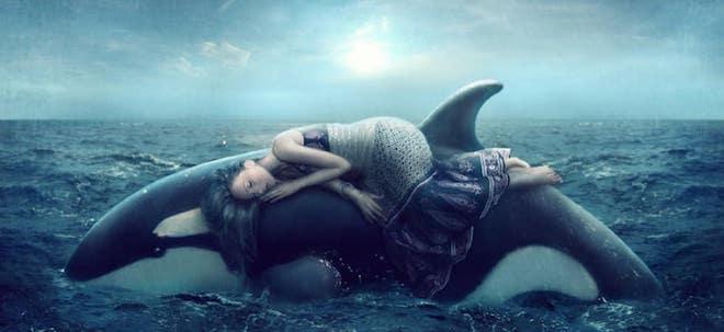 девушка спит на ките