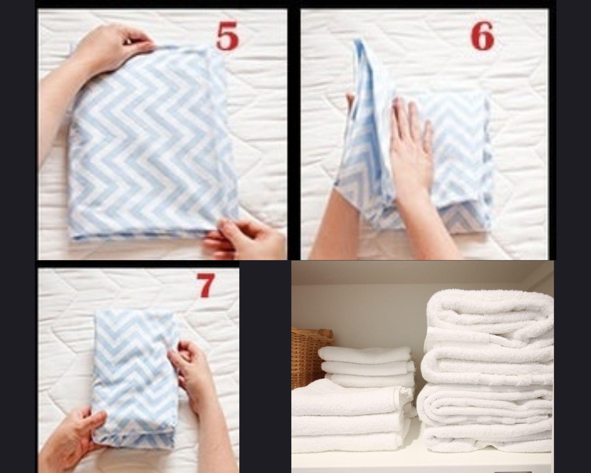 5 - 7 этапы складывания белья