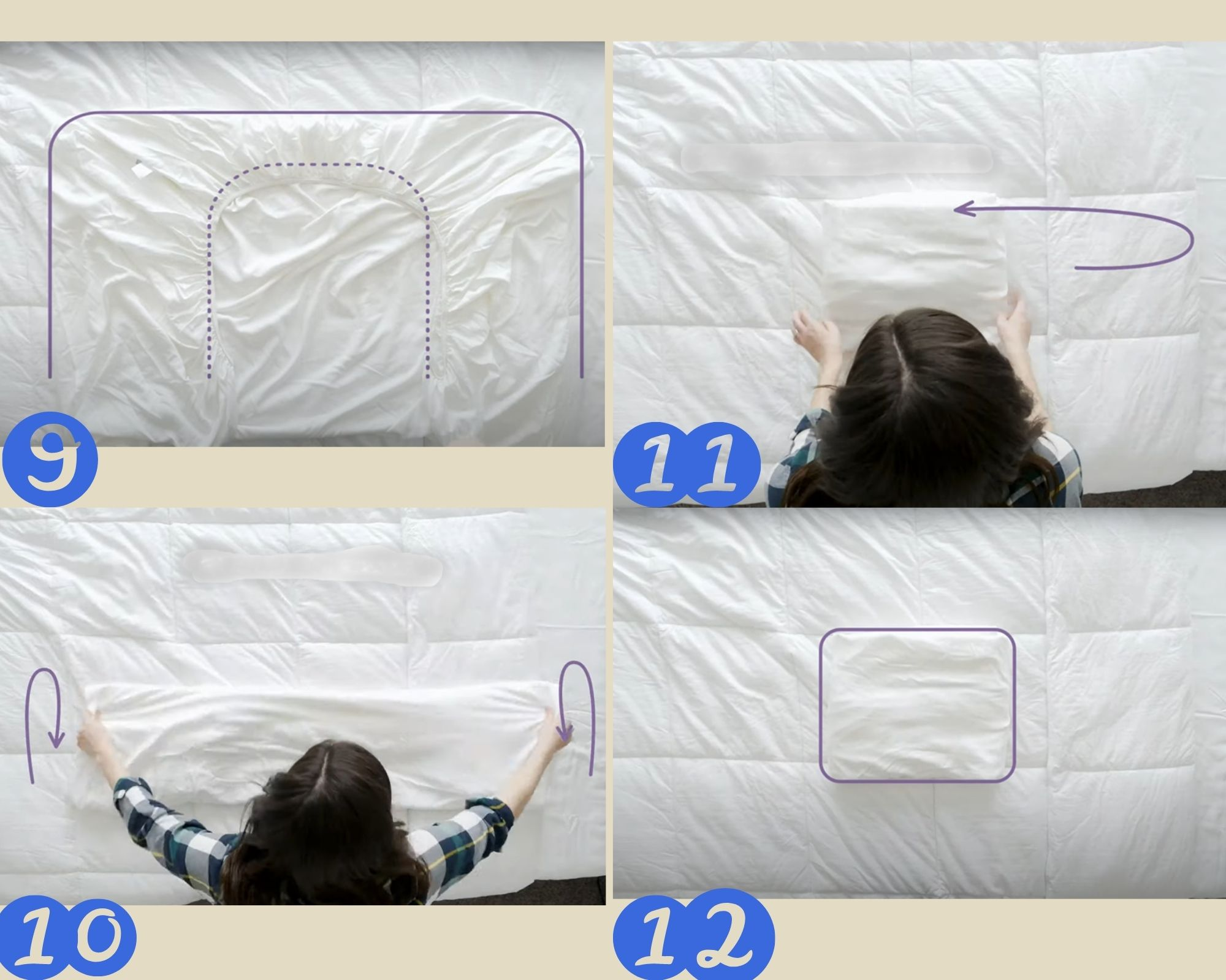 9 -12 этапы складывания простыни