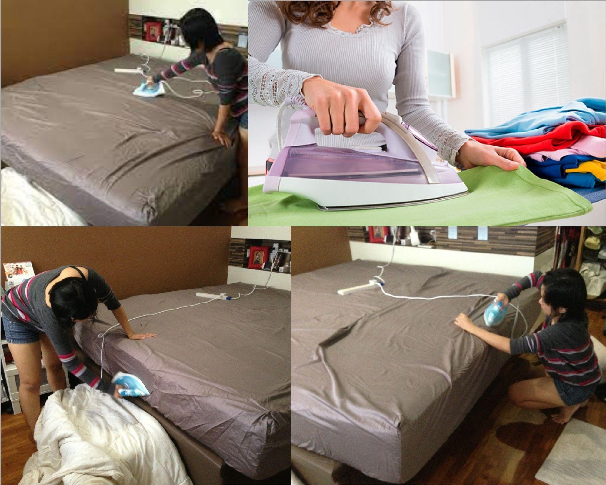 Глажка утюгом постели